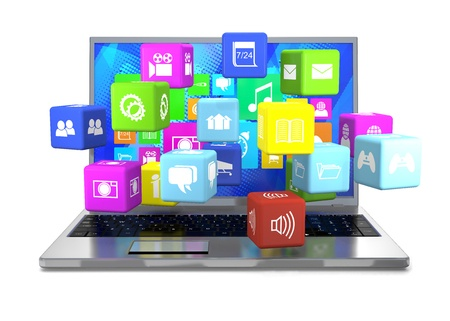 50559358 - laptop and flying cubes with icons on white background.